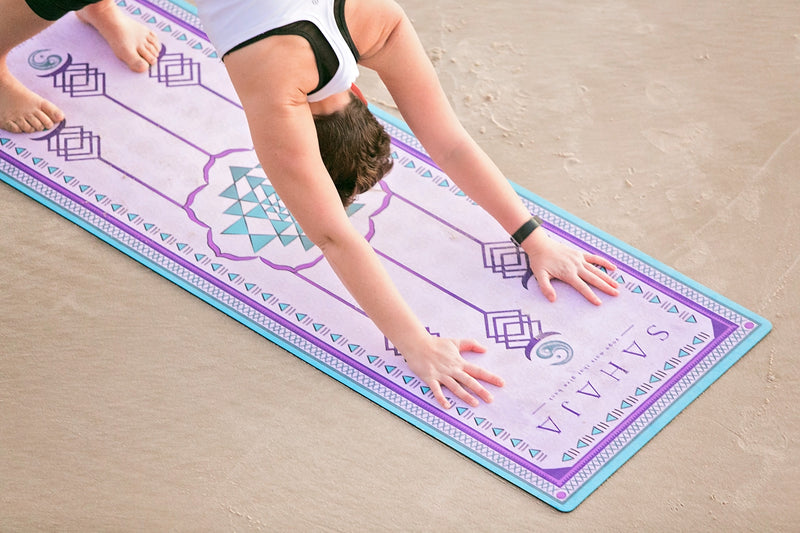 Sahaja Yoga mats, sacred geometry yoga mat on beach