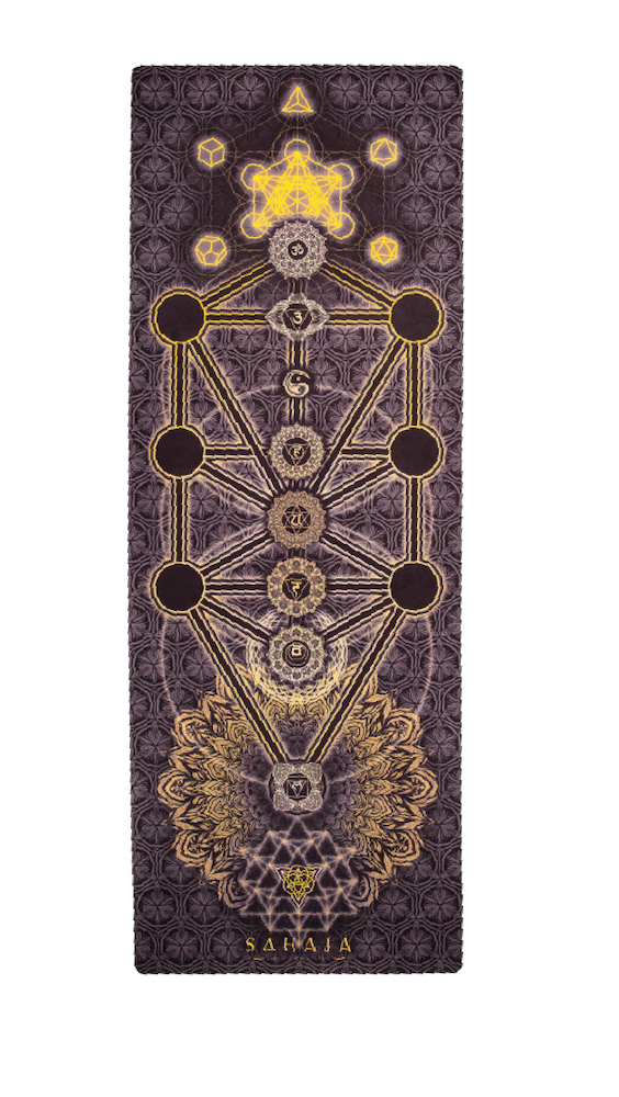 Sahaja Yoga Mats, chakra yoga mat. Beautiful printed yoga mat with the chakras and the tree of life on a yoga mat.