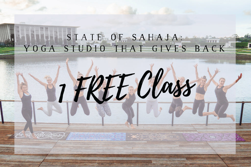 State of Sahaja yoga studio is a yoga studio that gives back. A yoga studio on the gold coast, yogis on a yoga deck.