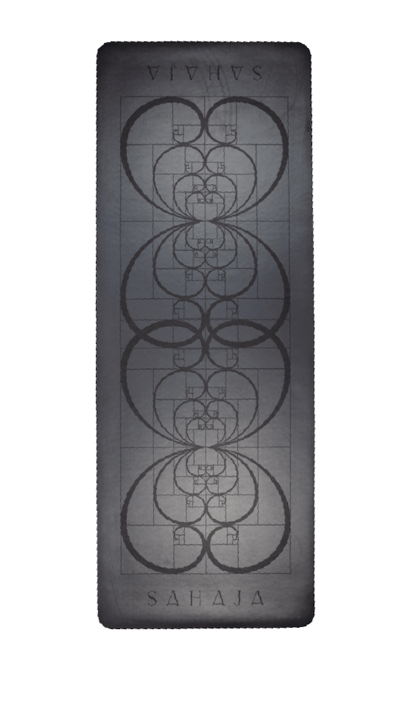 Sahaja Yoga Mat, non slip yoga mat with extra grip. Golden Ratio design to aid in alignment.