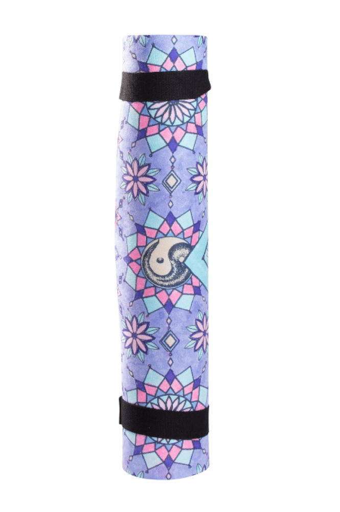 Sahaja Yoga mats, moroccan door yoga mat collection. Rolled up sahaja yoga mat in Joy.