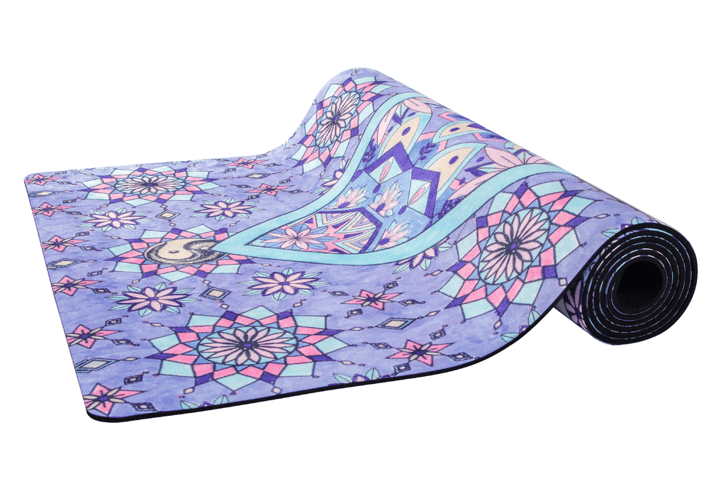 Sahaja Yoga mat, moroccan door yoga mat. half rolled out Sahaja Yoga mat in Joy. Printed and beautiful yoga mats.
