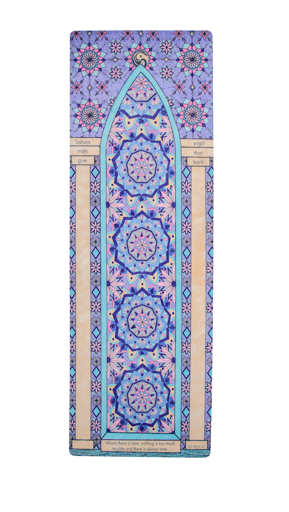 Sahaja Yoga mat, moroccan door yoga mat. Rolled out Love Yoga mat. Printed and beautiful yoga mats.