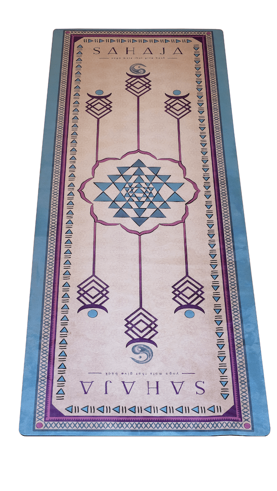Sahaja Yoga mats, sacred geometrical designs to aid in alignment during yoga practice.