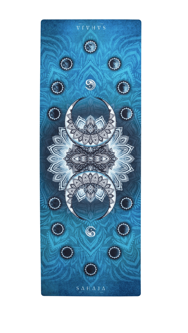 Sahaja Yoga mats that give back. Rolled out Crescent Moon yoga mat, blue yoga mat with the phases of the moon. Printed and beautiful yoga mats.