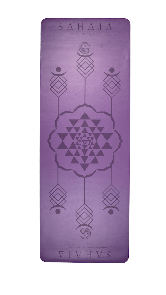 Sahaja Yoga mats That Give Back. Super grippy travel yoga mat. Purple with Sri Yantra engraving for alignment.