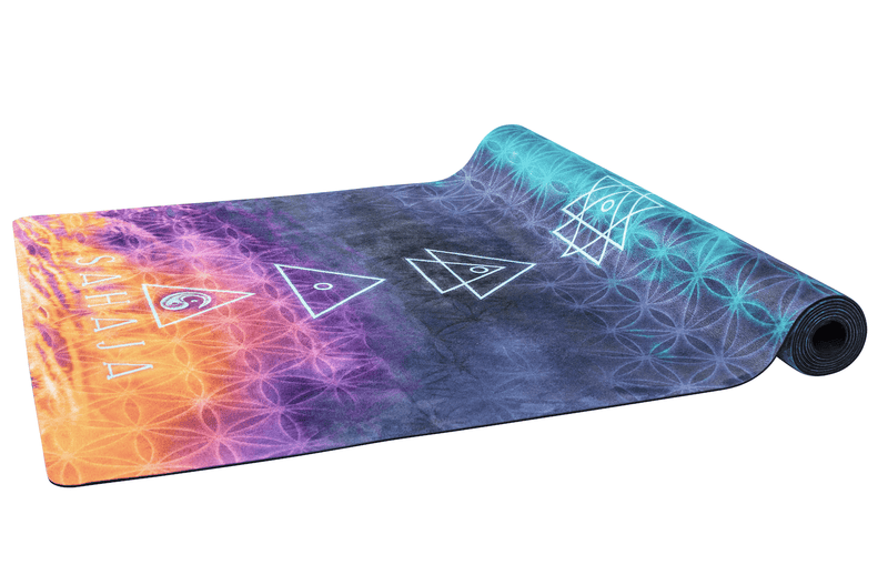 Sahaja Yoga Mats That Give Back. Sri Yantra travel yoga mat. sacred geometry yoga mat, travel size. With flower of life background..