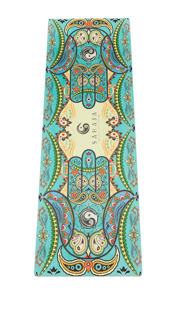 Sahaja Yoga Mat, beautiful original hamsa hand created to aid in alignment during yoga practice.