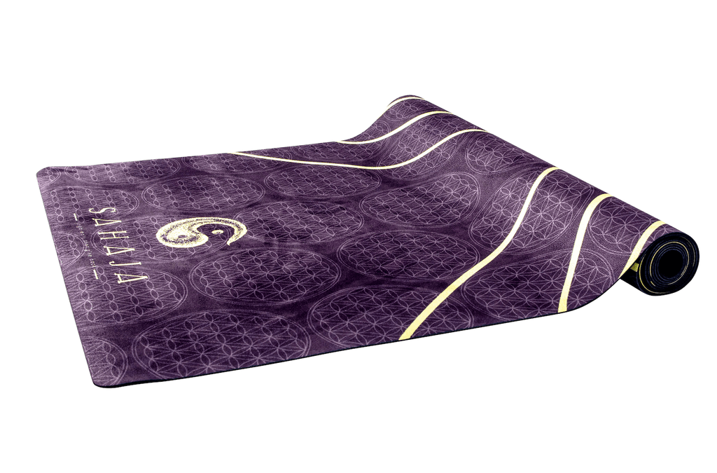 Sahaja Yoga Mats That Give Back. half rolled black yoga mat, yang travel yoga mat. Black with yellow flower of life, sacred geometry yoga mat that gives back with every purchase.