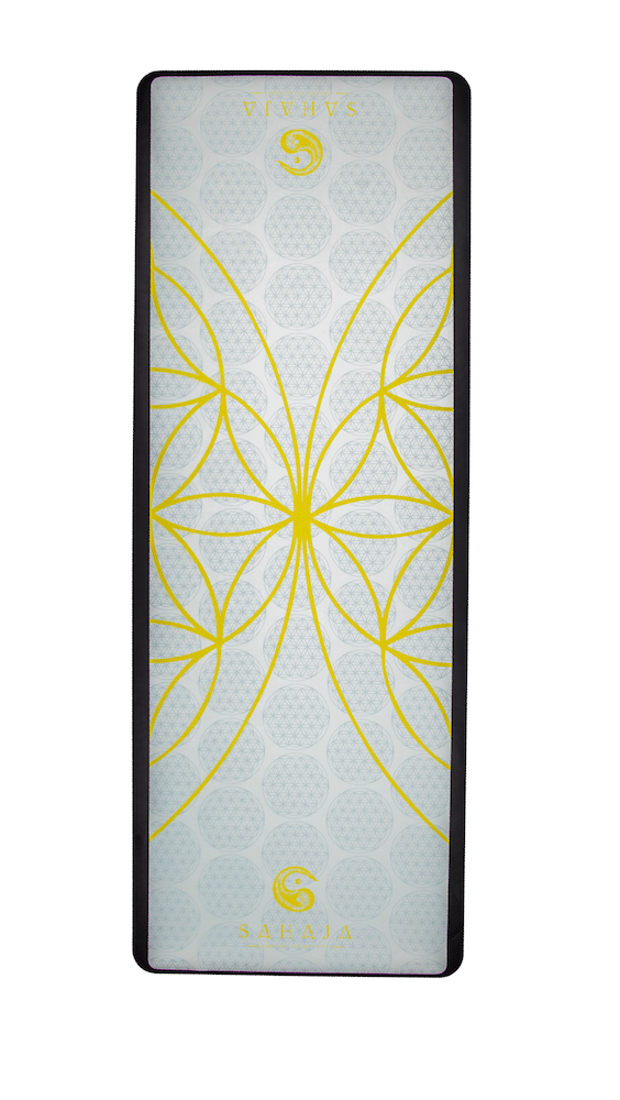 Sahaja Yoga Mats That Give Back. rolled out yin travel yoga mat. White with yellow flower of life, sacred geometry yoga mat that gives back with every purchase.