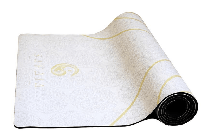 Sahaja Yoga Mats That Give Back. Half rolled white yin travel yoga mat.White yoga mat with yellow flower of life, sacred geometry yoga mat that gives back with every purchase.