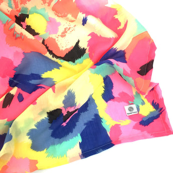 Neon Abstract Floral Swaddle Wrap Blanket - Yellow