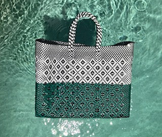 Mexican Tote Bag - Light Blue & Black Print