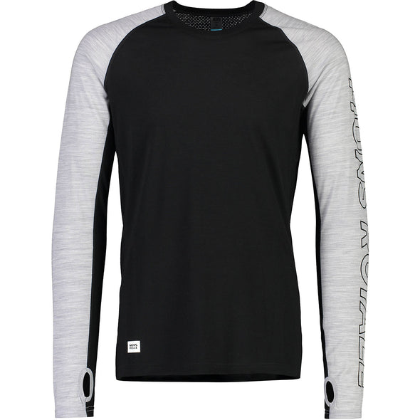Mons Royale Temple Tech LS - Black / Grey Marl