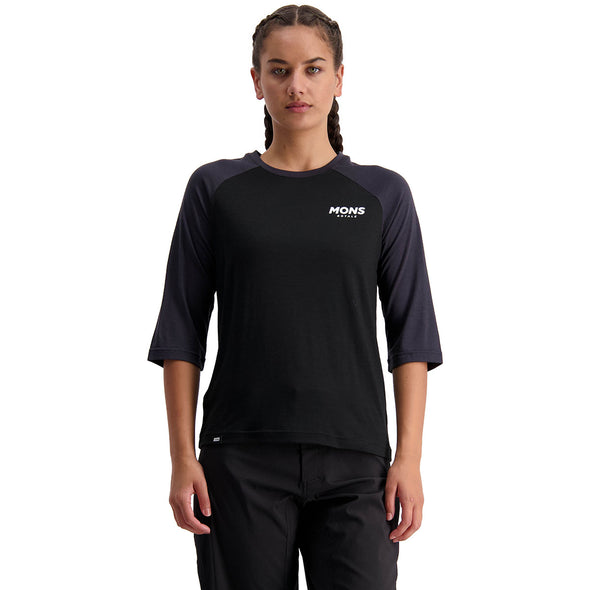 Mons Royale Women's Tarn Freeride Raglan 3/4 - Black / 9 Iron