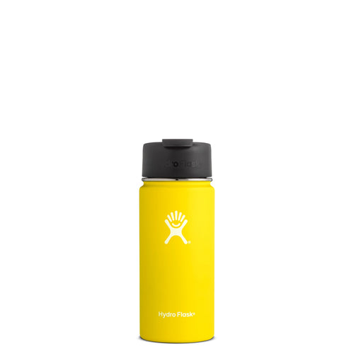 Hyrdo Flask 16 oz Wide Mouth w/Flip Lid - Lemon // Futureproof.life (perspective)