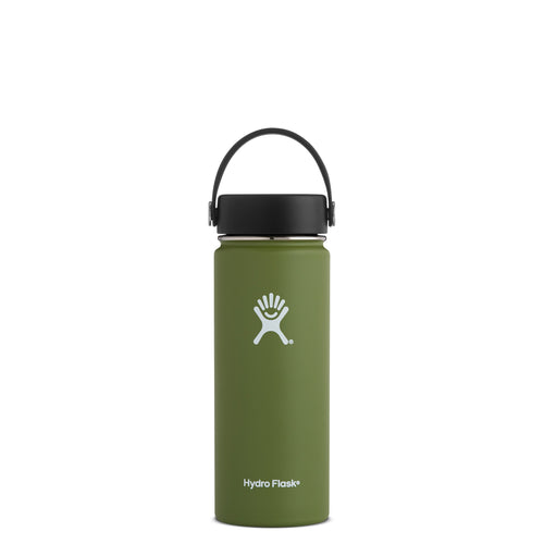 Hyrdo Flask 18 oz Wide Mouth - Olive // Futureproof.life (perspective)