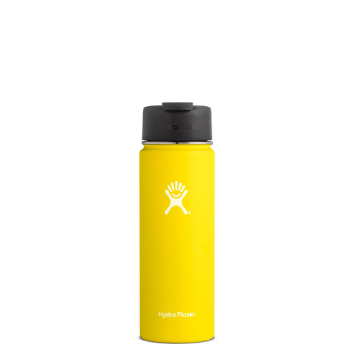 Hyrdo Flask 20 oz Wide Mouth w/Flip Lid - Lemon // Futureproof.life (perspective)