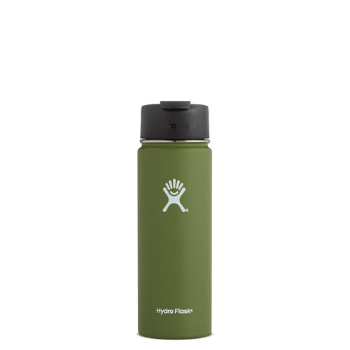 Hyrdo Flask 20 oz Wide Mouth w/Flip Lid - Olive // Futureproof.life (perspective)