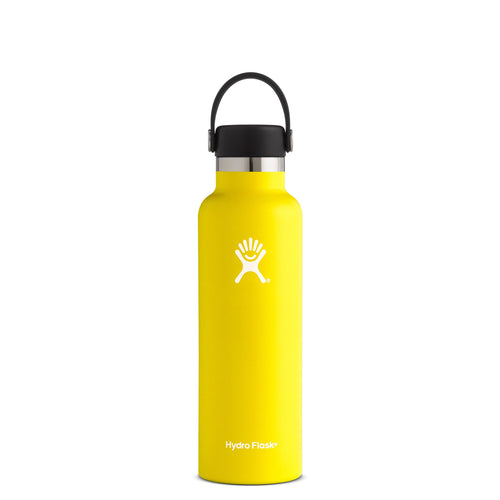 Hyrdo Flask 21 oz Standard Mouth - Lemon // Futureproof.life (perspective)