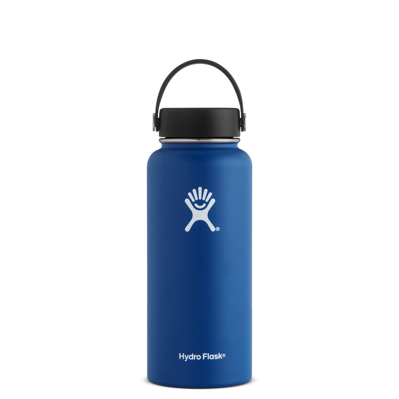 Hyrdo Flask 32 oz Wide Mouth - Cobalt // Futureproof.life (perspective)