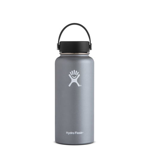 Hyrdo Flask 32 oz Wide Mouth - Graphite // Futureproof.life (perspective)