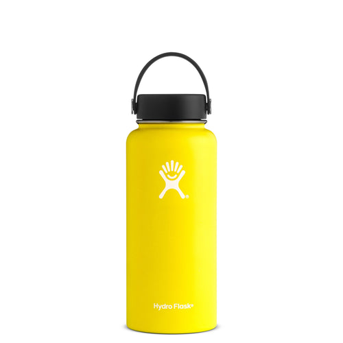 Hyrdo Flask 32 oz Wide Mouth - Lemon // Futureproof.life (perspective)
