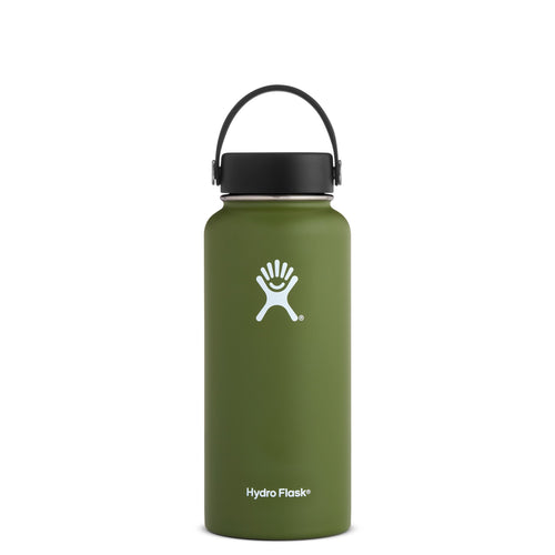 Hyrdo Flask 32 oz Wide Mouth - Olive // Futureproof.life (perspective)