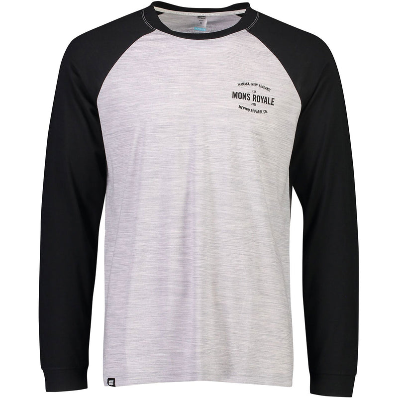 Mons Royale Icon Raglan - Black/Grey Marl