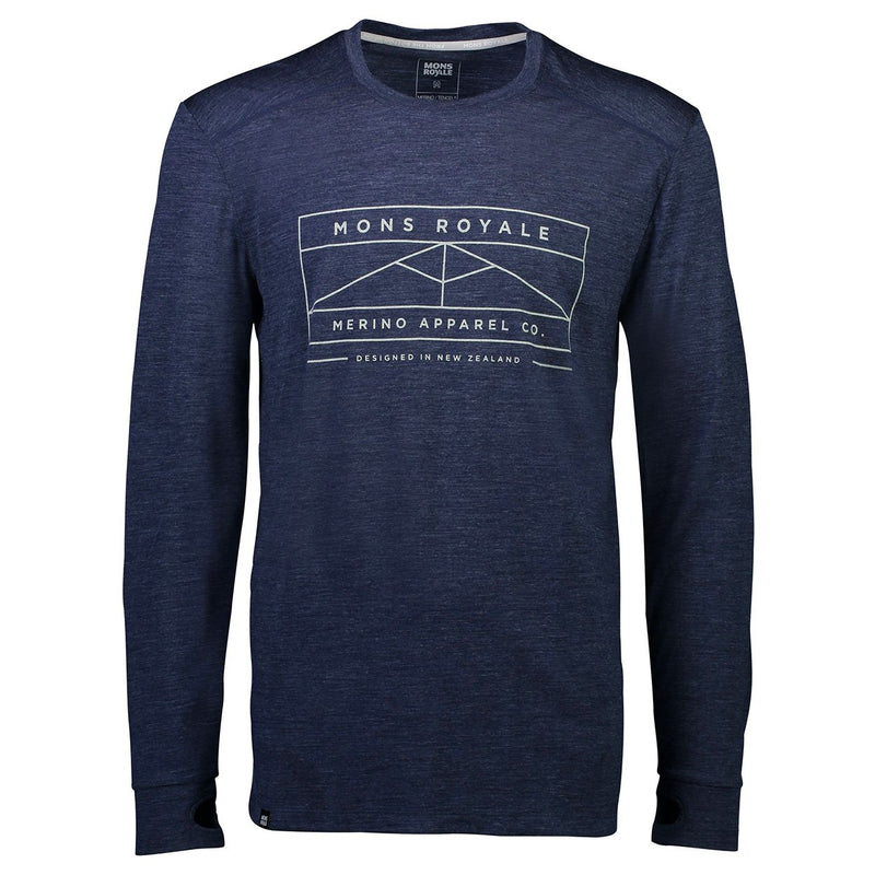 Mons Royale Mens Huxley Hike LS Navy - futureproof-life