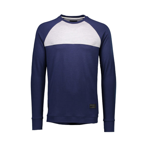 Mons Royale The 19th Jersey Crew - Navy / Grey Marl - Front View