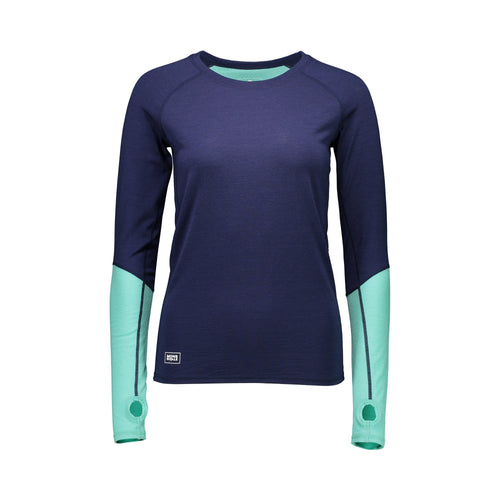 Mons Royale Bella Tech LS Geo - Navy / Mint - Front View