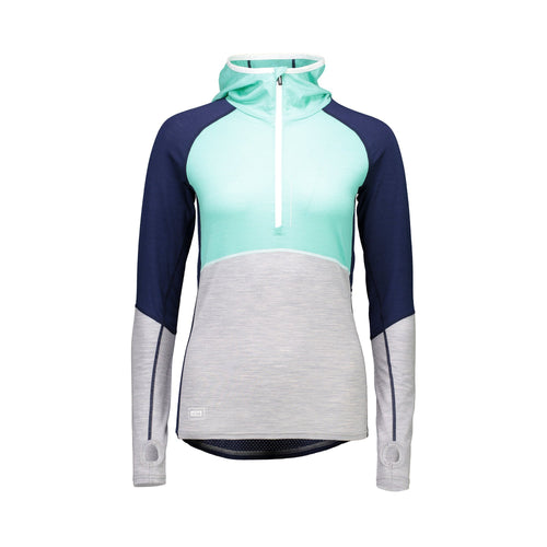 Mons Royale Checklist Hood LS Geo - Navy / Mint - Front View