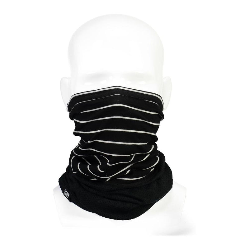 Mons Royale Fifty-Fifty Mesh Neckwarmer Black / Thin Stripe // Futureproof.life