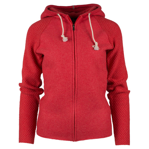 Amundsen Sports Womens Boiled Wool Hoodie Jacket  - Weathered Red // Futureproof.life // 388