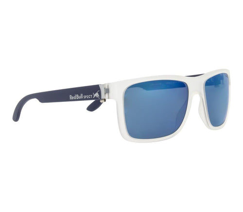 Red Bull SPECT WING 1 Sunglasses Matt Transparent White/Smoke with Blue Mirror Polarised - futureproof-life