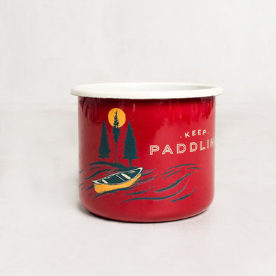 ${brand_name} Keep Paddling Enamel Mug - Large Red {product_type}