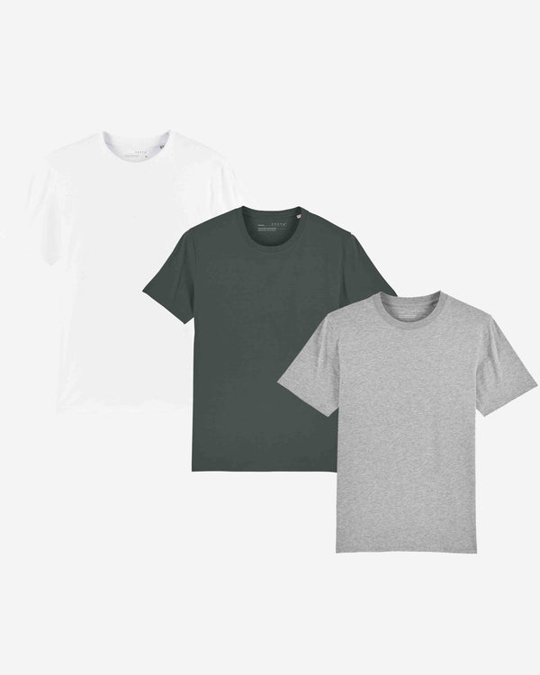 Mens Organic Everyday Luxury Essential T-Shirt Pack x3 | MWCGOELE