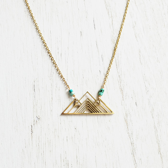 Gold Mountain + Heishi Turq Necklace