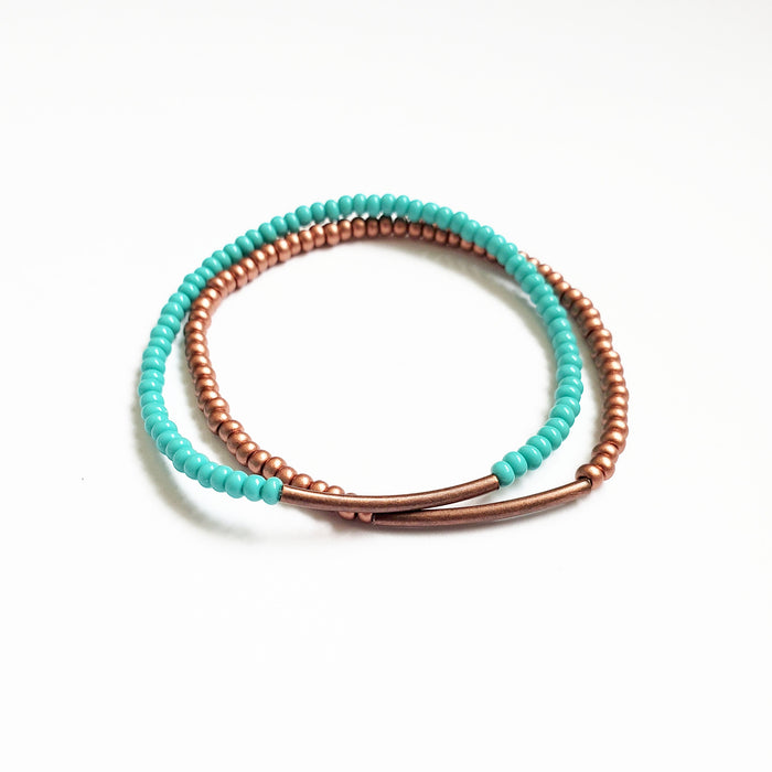 Copper + Turq Stretchy Duo Bracelet