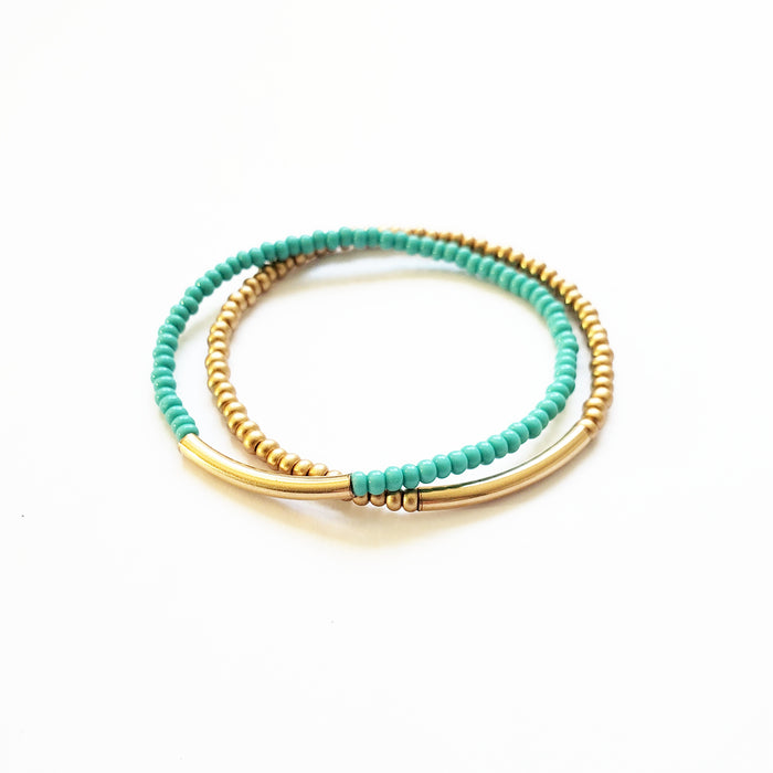 Gold + Turq Stretchy Duo Bracelet