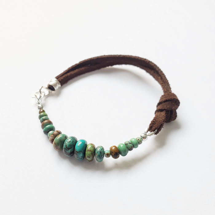 Turq + Leather Knot Bracelet