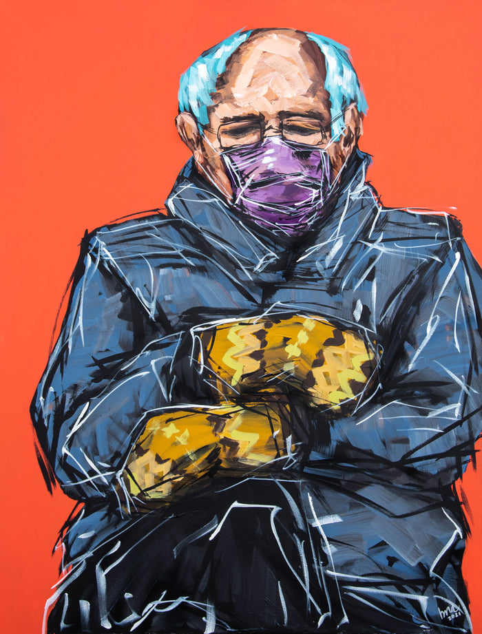 Bernie + the Mittens Original Painting