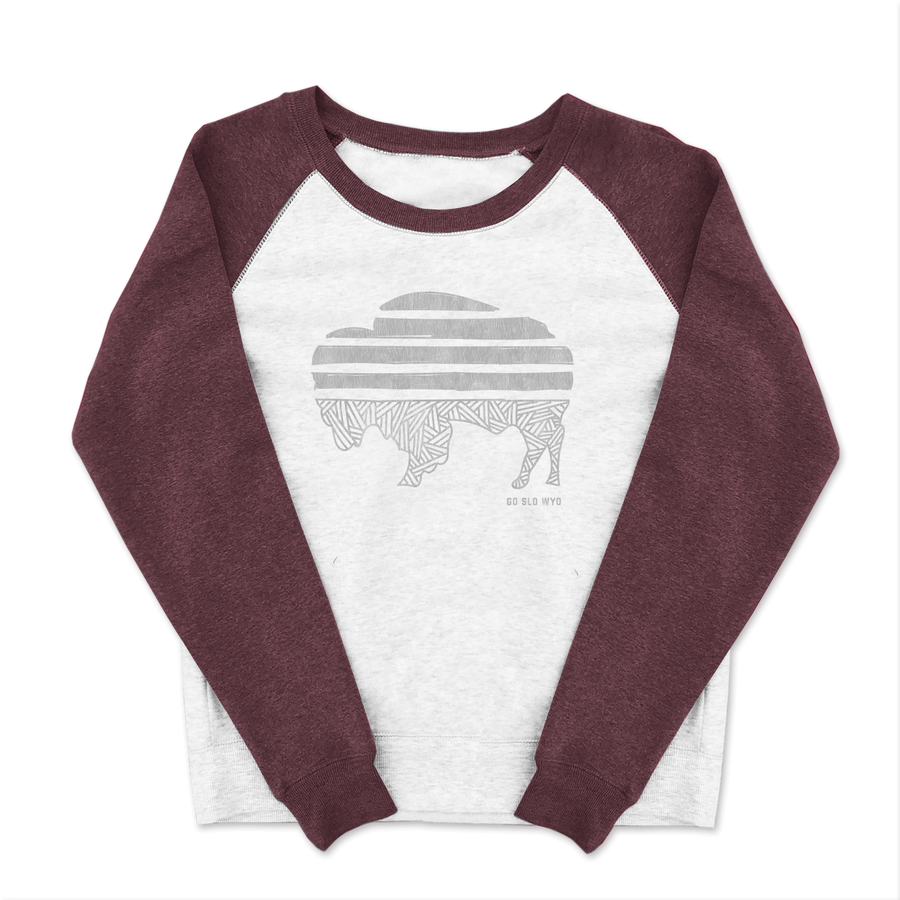 WYO // GALS BUFFALO STRIPE WIDE CREW SWEATSHIRT