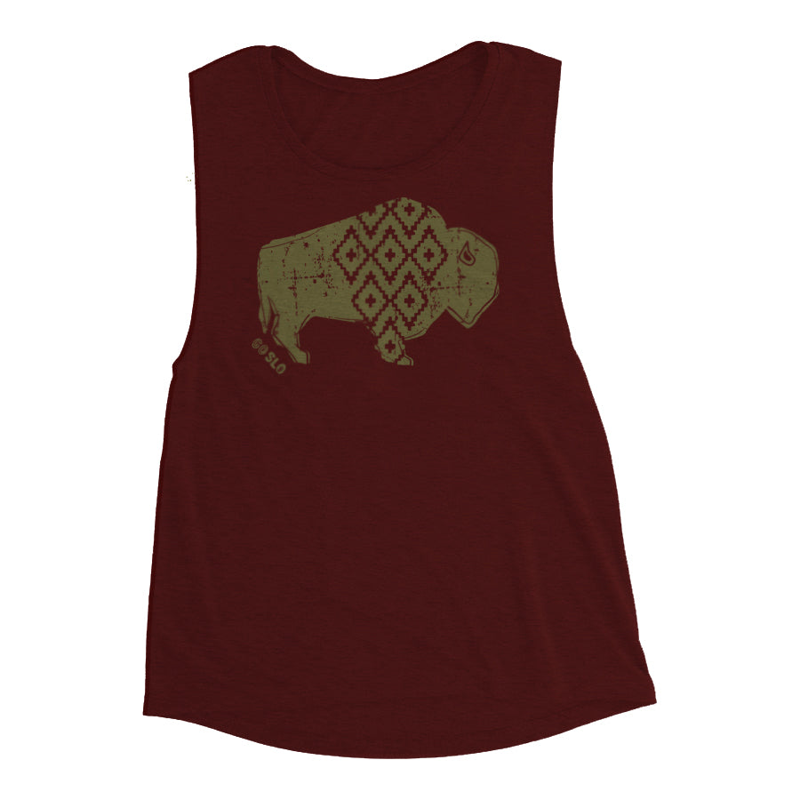 Gals Metallic Geo Bison Muscle Tank
