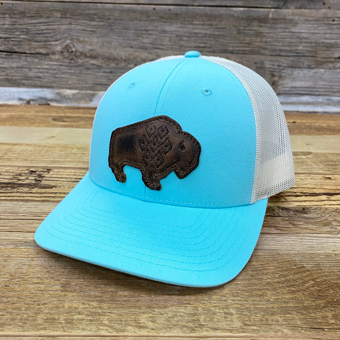 Leather Geo Bison Trucker Cap