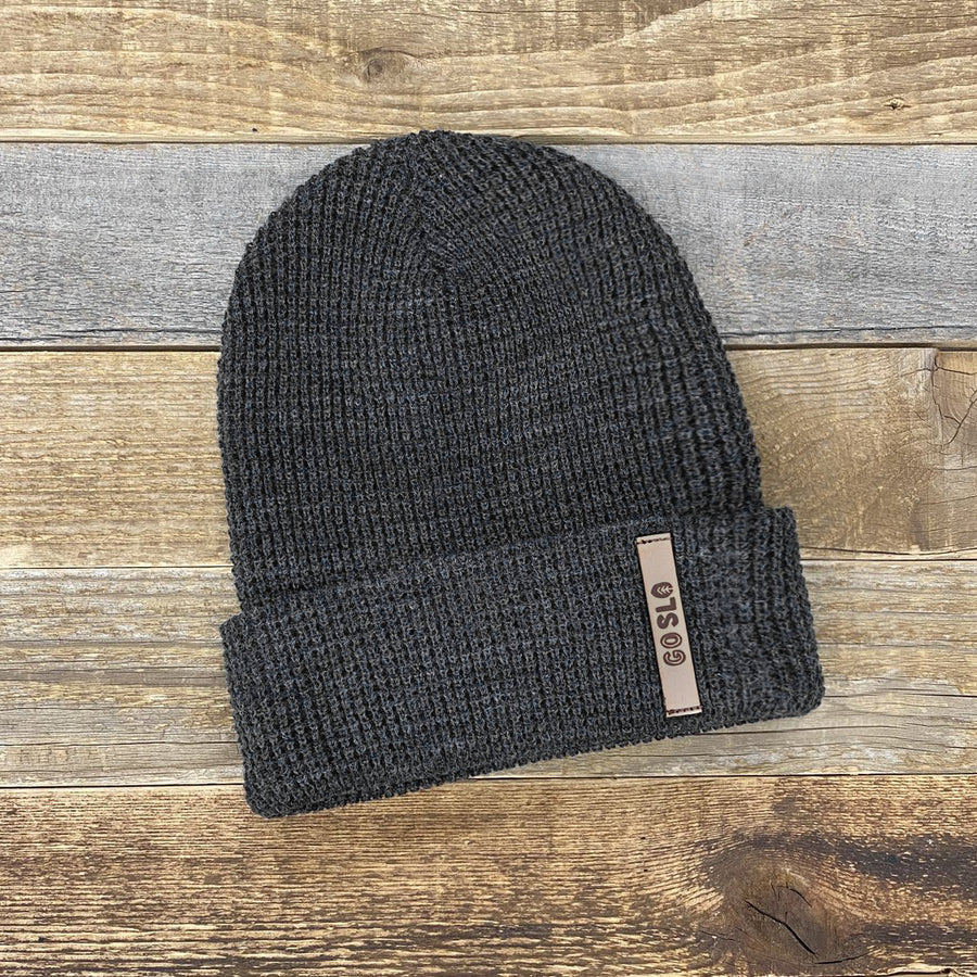 Waffle Leather Go Slo Patch Knit Hat
