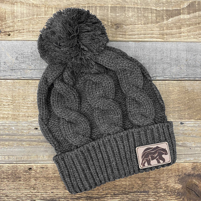 Leather Bear Pom Knit Hat