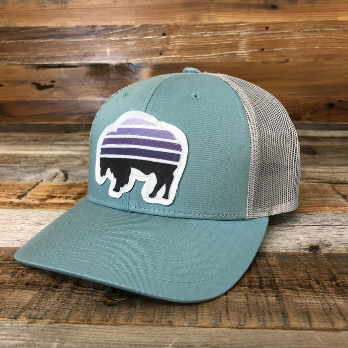 Purple Sunset Buffalo Trucker Cap