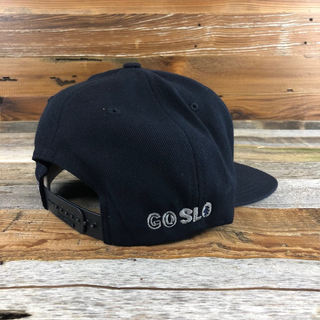 Navy Leather Bison Flat Brim Cap